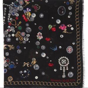 Alexander McQueen Brooches & Buttons Scarf